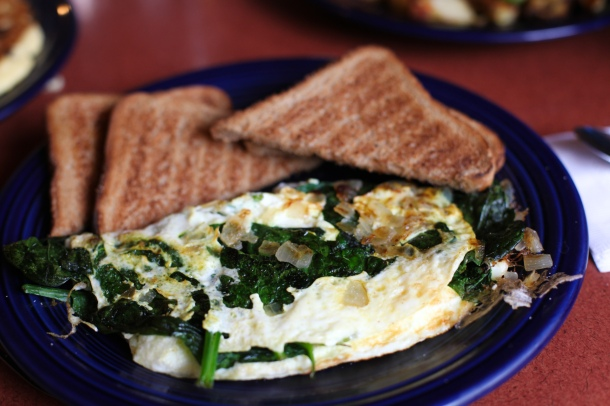 Spinach, feta, and onion omelet