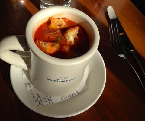 an heirloom specialty: smoked tomato soup with cheddar croutons