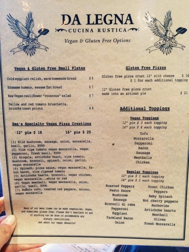 Vegan and Gluten-free menu
